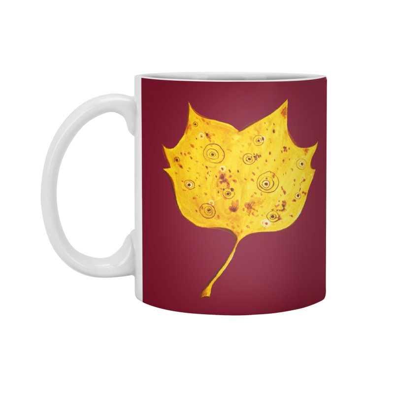Fancy Yellow Autumn Leaf Accessories Mug by Boriana's Artist Shop