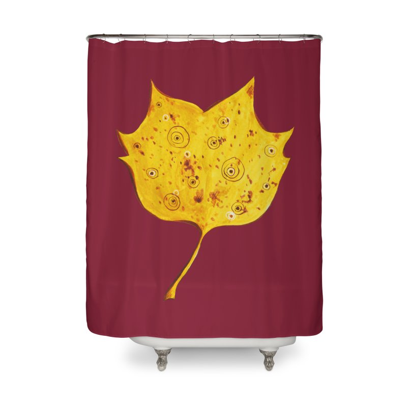 Fancy Yellow Autumn Leaf Home Shower Curtain by Boriana's Artist Shop