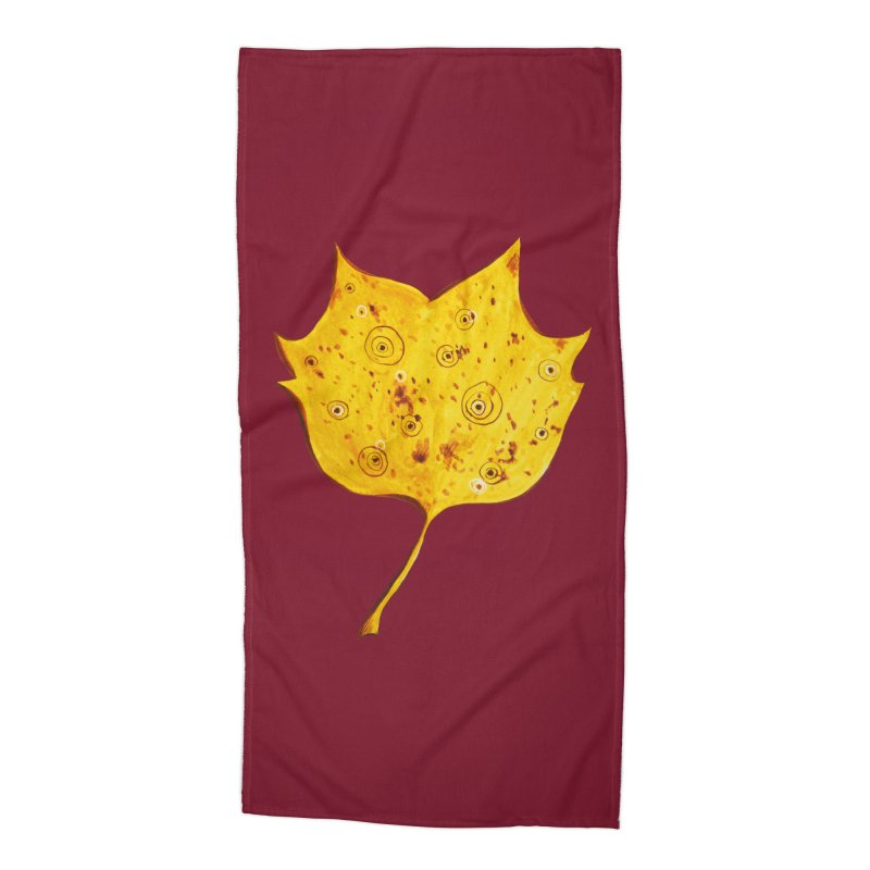 Fancy Yellow Autumn Leaf Accessories Beach Towel by Boriana's Artist Shop