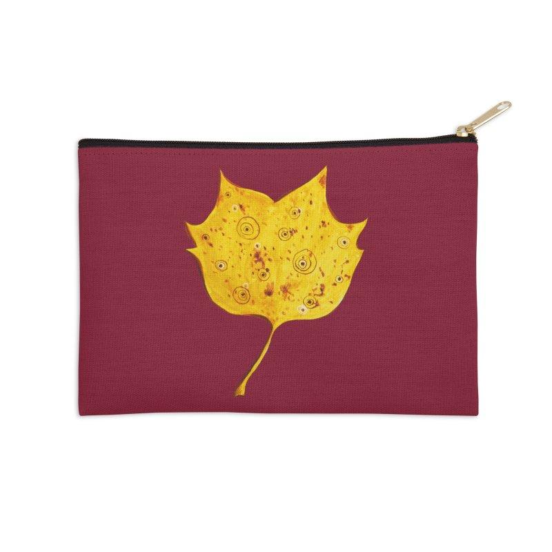 Fancy Yellow Autumn Leaf Accessories Zip Pouch by Boriana's Artist Shop