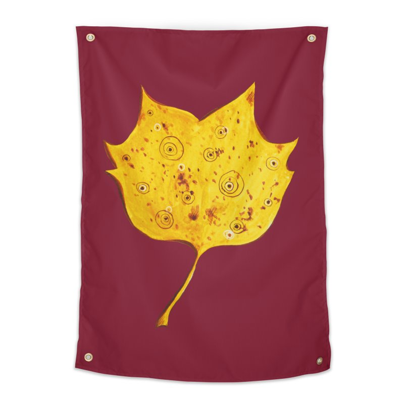 Fancy Yellow Autumn Leaf Home Tapestry by Boriana's Artist Shop