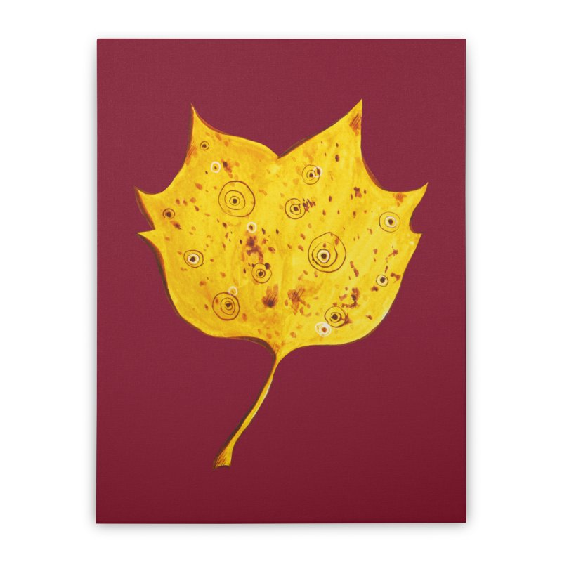 Fancy Yellow Autumn Leaf Home Stretched Canvas by Boriana's Artist Shop