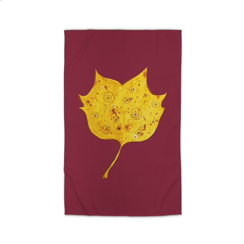 Fancy Yellow Autumn Leaf Home Rug by Boriana's Artist Shop