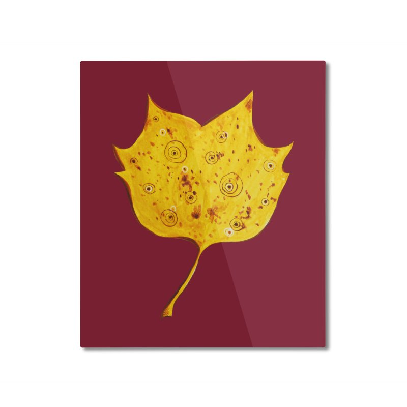 Fancy Yellow Autumn Leaf Home Mounted Aluminum Print by Boriana's Artist Shop