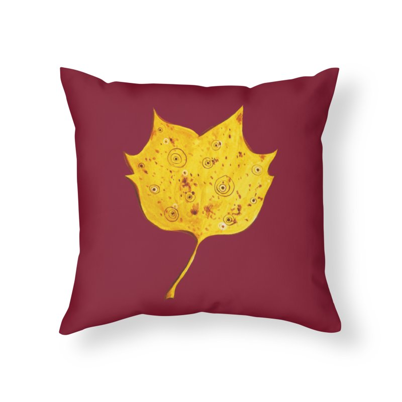 Fancy Yellow Autumn Leaf Home Throw Pillow by Boriana's Artist Shop