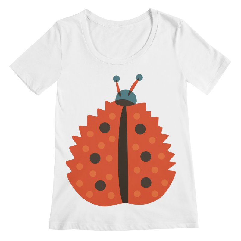 Ladybug Masked As Autumn Leaf Women's Regular Scoop Neck by Boriana's Artist Shop