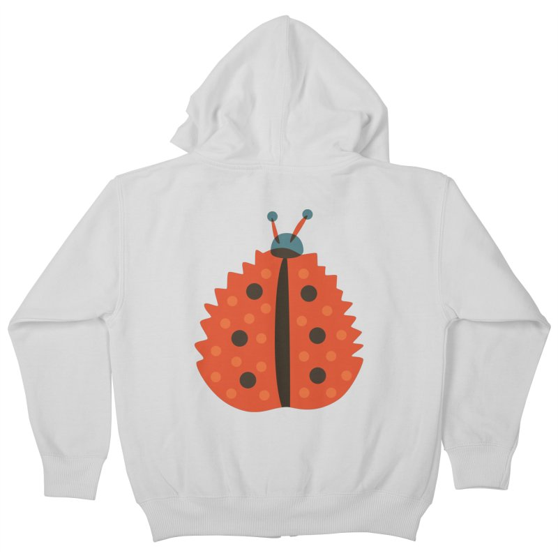 Ladybug Masked As Autumn Leaf Kids Zip-Up Hoody by Boriana's Artist Shop