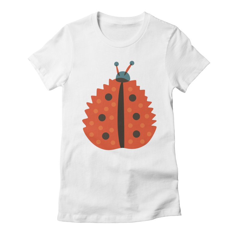 Ladybug Masked As Autumn Leaf Women's Fitted T-Shirt by Boriana's Artist Shop