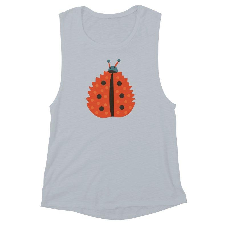 Ladybug Masked As Autumn Leaf Women's Muscle Tank by Boriana's Artist Shop