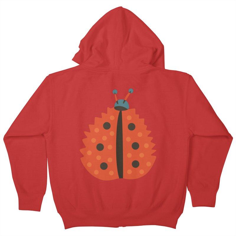 Ladybug Masked As Autumn Leaf Kids Zip-Up Hoody by Boriana's Artist Shop