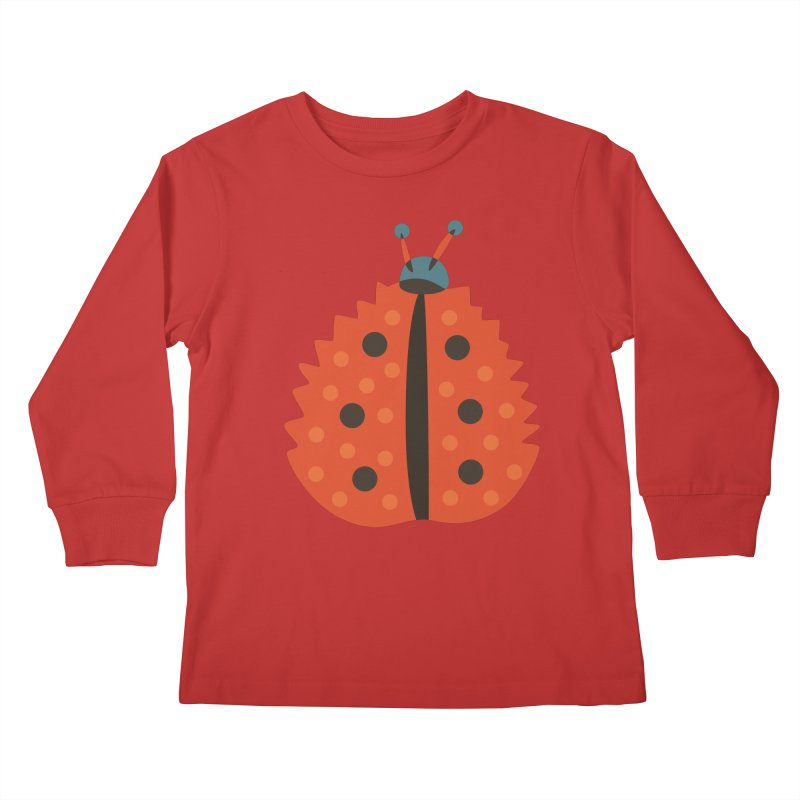 Ladybug Masked As Autumn Leaf Kids Longsleeve T-Shirt by Boriana's Artist Shop