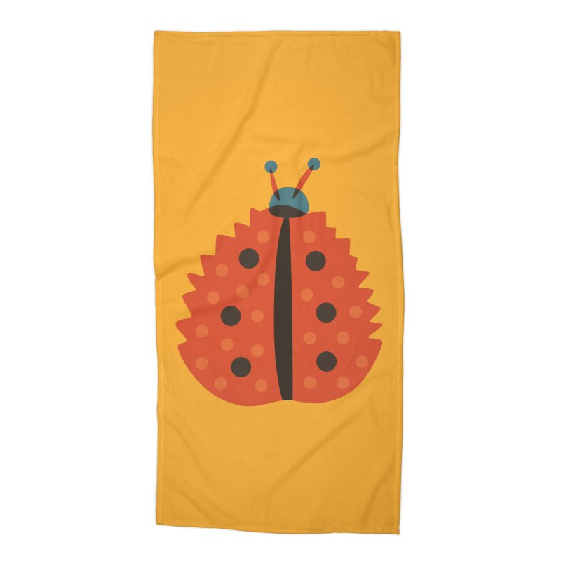 Ladybug Masked As Autumn Leaf Accessories Beach Towel by Boriana's Artist Shop