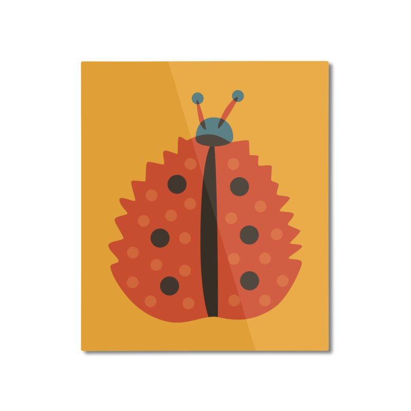 Ladybug Masked As Autumn Leaf Home Mounted Aluminum Print by Boriana's Artist Shop