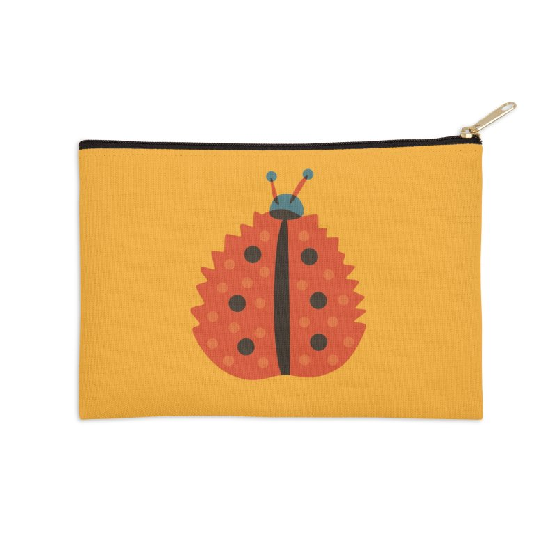 Ladybug Masked As Autumn Leaf Accessories Zip Pouch by Boriana's Artist Shop