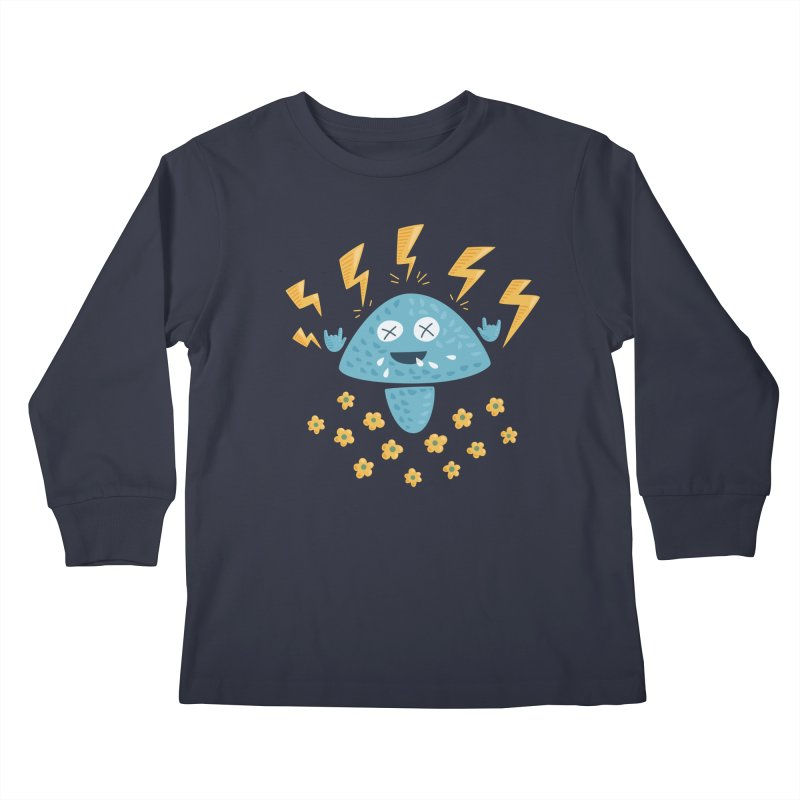 Hard Rock Mushroom Kids Longsleeve T-Shirt by Boriana's Artist Shop