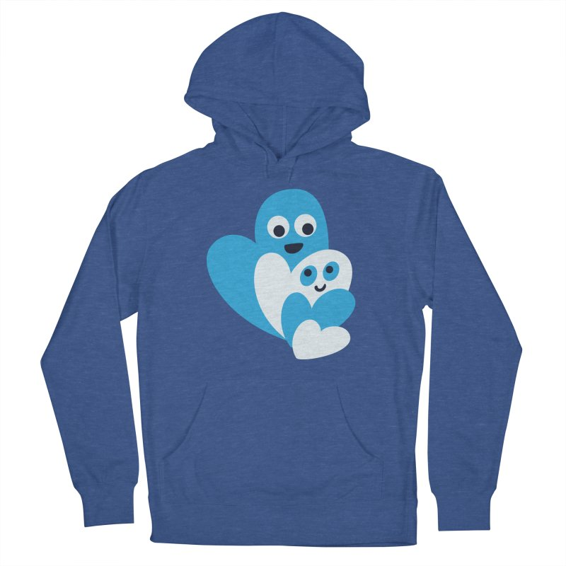 Cute Family Of Happy Hearts Men's French Terry Pullover Hoody by Boriana's Artist Shop