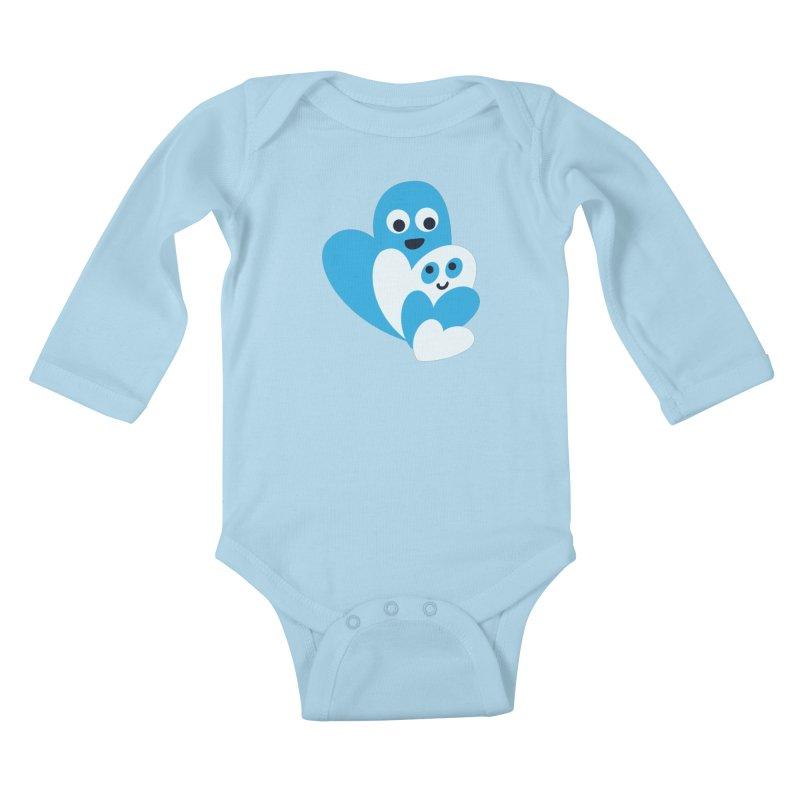 Cute Family Of Happy Hearts Kids Baby Longsleeve Bodysuit by Boriana's Artist Shop