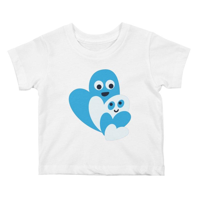 Cute Family Of Happy Hearts Kids Baby T-Shirt by Boriana's Artist Shop