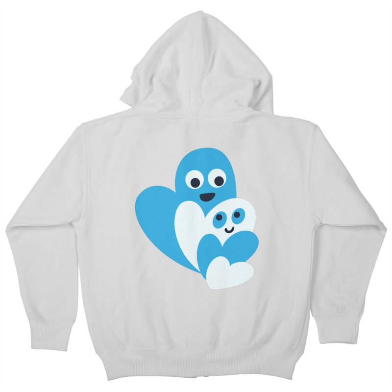 Cute Family Of Happy Hearts Kids Zip-Up Hoody by Boriana's Artist Shop