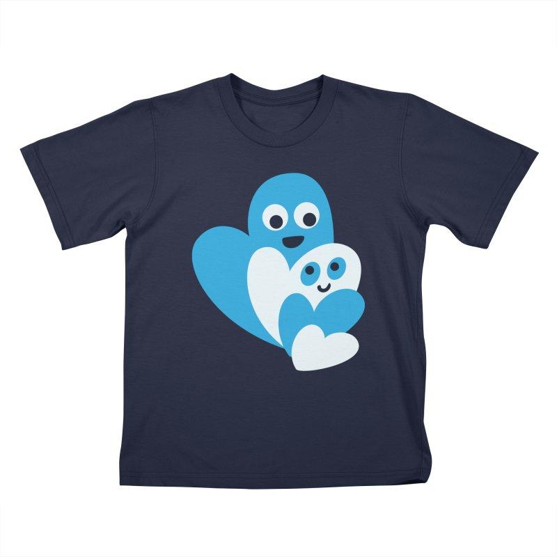Cute Family Of Happy Hearts Kids T-Shirt by Boriana's Artist Shop