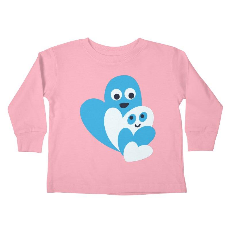 Cute Family Of Happy Hearts Kids Toddler Longsleeve T-Shirt by Boriana's Artist Shop