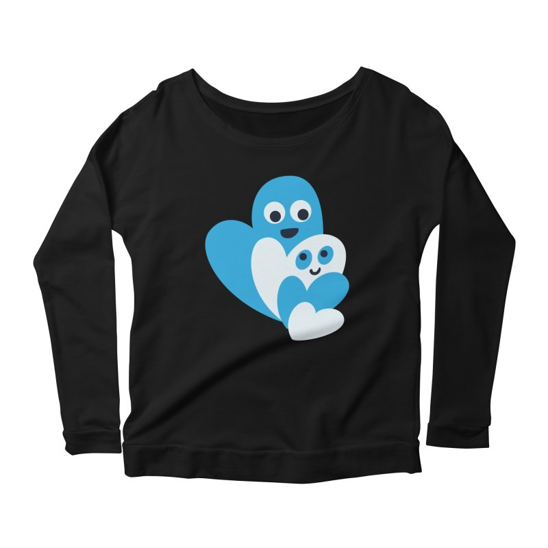 Cute Family Of Happy Hearts Women's Longsleeve Scoopneck  by Boriana's Artist Shop