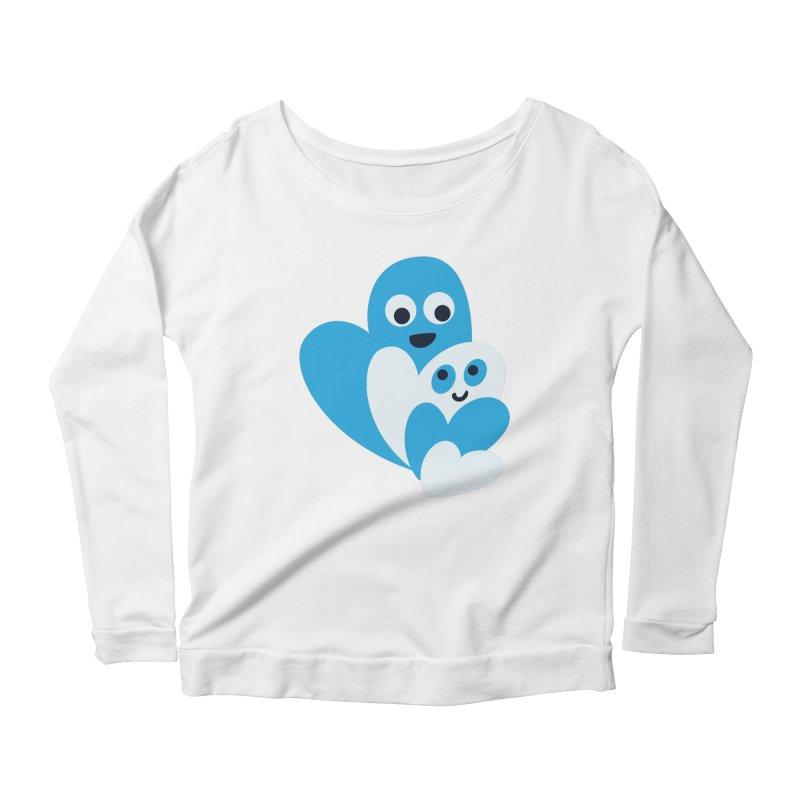 Cute Family Of Happy Hearts Women's Scoop Neck Longsleeve T-Shirt by Boriana's Artist Shop