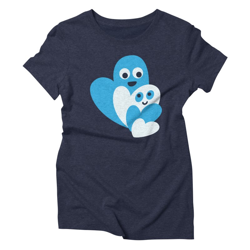 Cute Family Of Happy Hearts Women's Triblend T-Shirt by Boriana's Artist Shop