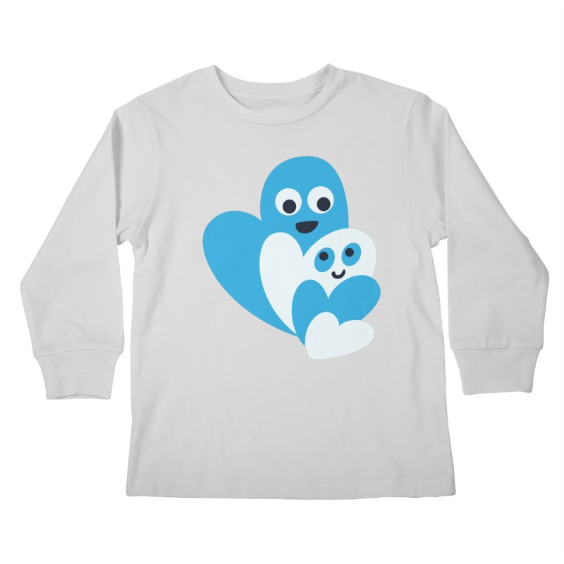 Cute Family Of Happy Hearts Kids Longsleeve T-Shirt by Boriana's Artist Shop