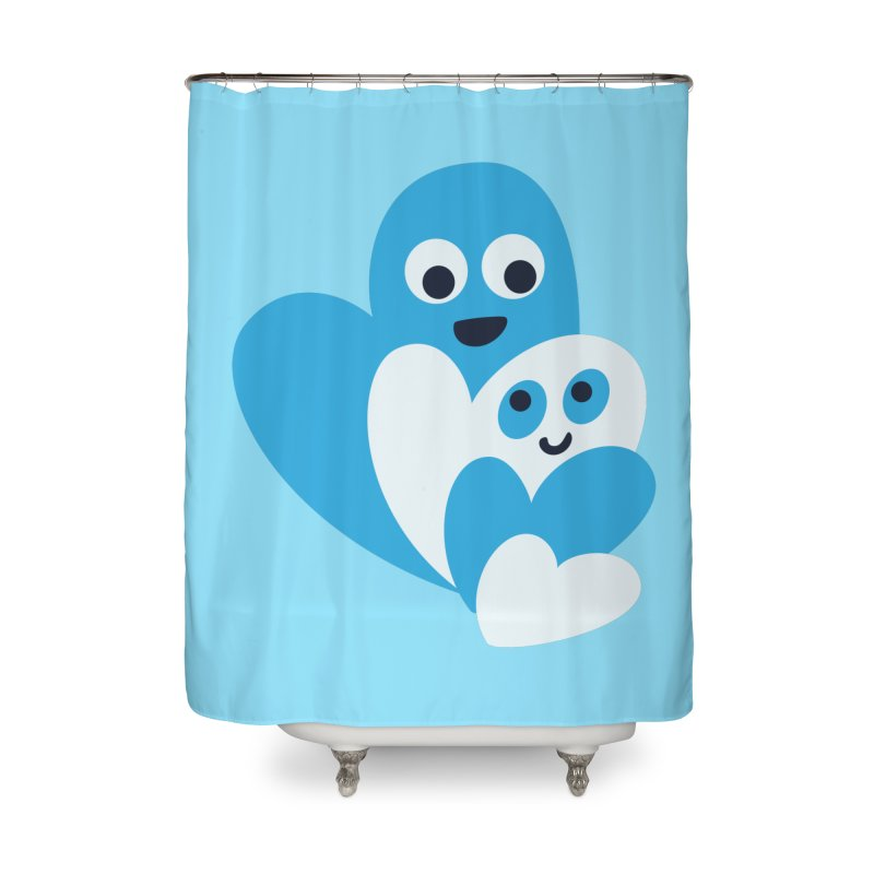 Cute Family Of Happy Hearts Home Shower Curtain by Boriana's Artist Shop