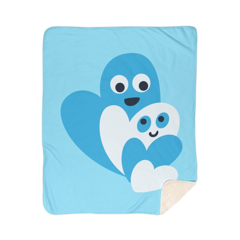 Cute Family Of Happy Hearts Home Sherpa Blanket Blanket by Boriana's Artist Shop