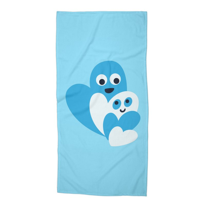 Cute Family Of Happy Hearts Accessories Beach Towel by Boriana's Artist Shop