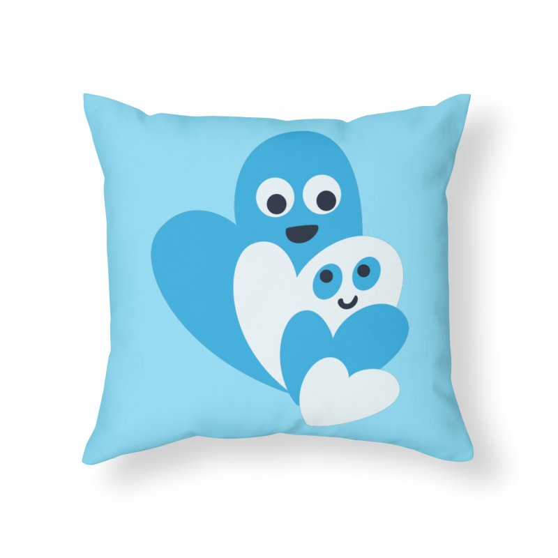 Cute Family Of Happy Hearts Home Throw Pillow by Boriana's Artist Shop
