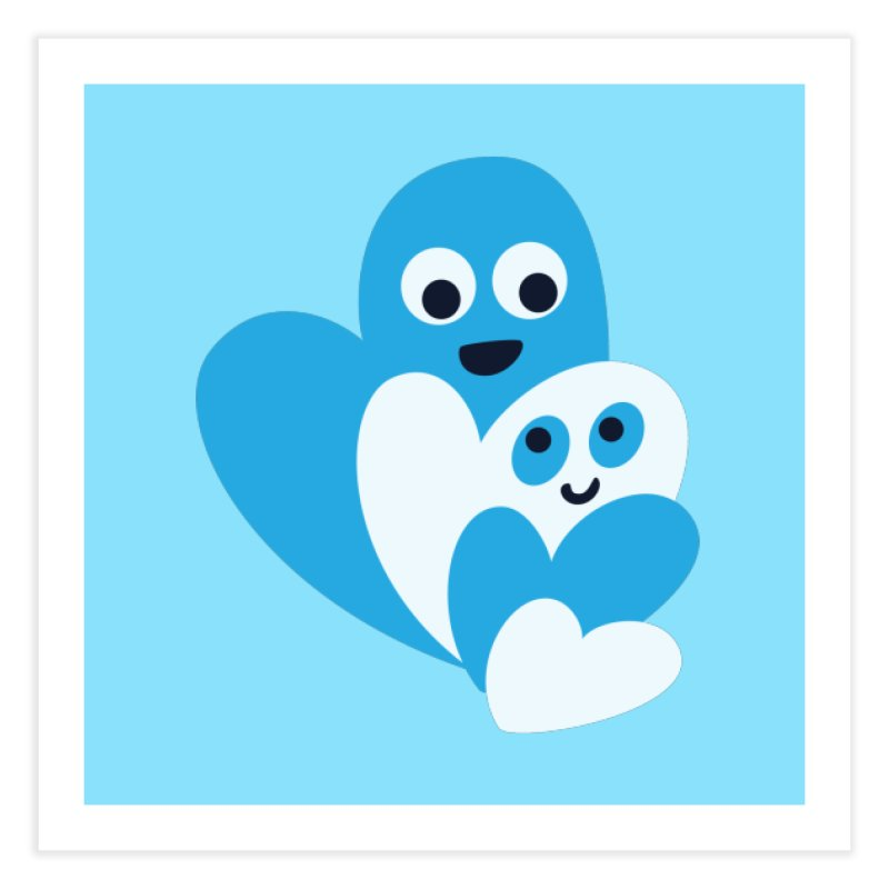Cute Family Of Happy Hearts Home Fine Art Print by Boriana's Artist Shop