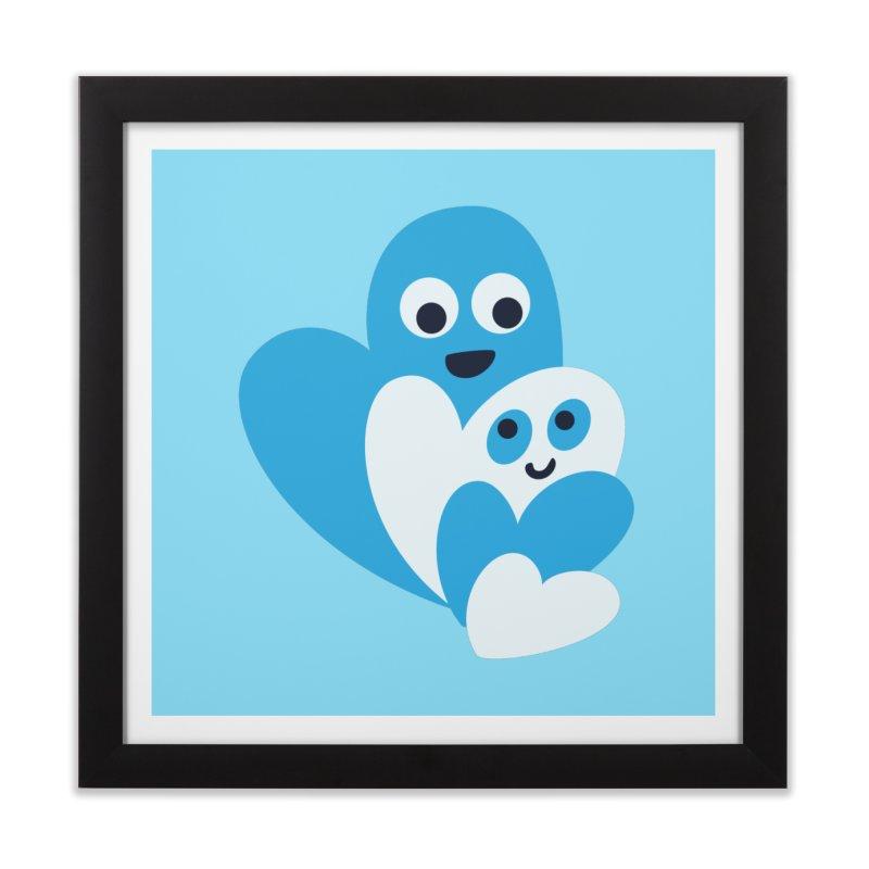 Cute Family Of Happy Hearts Home Framed Fine Art Print by Boriana's Artist Shop