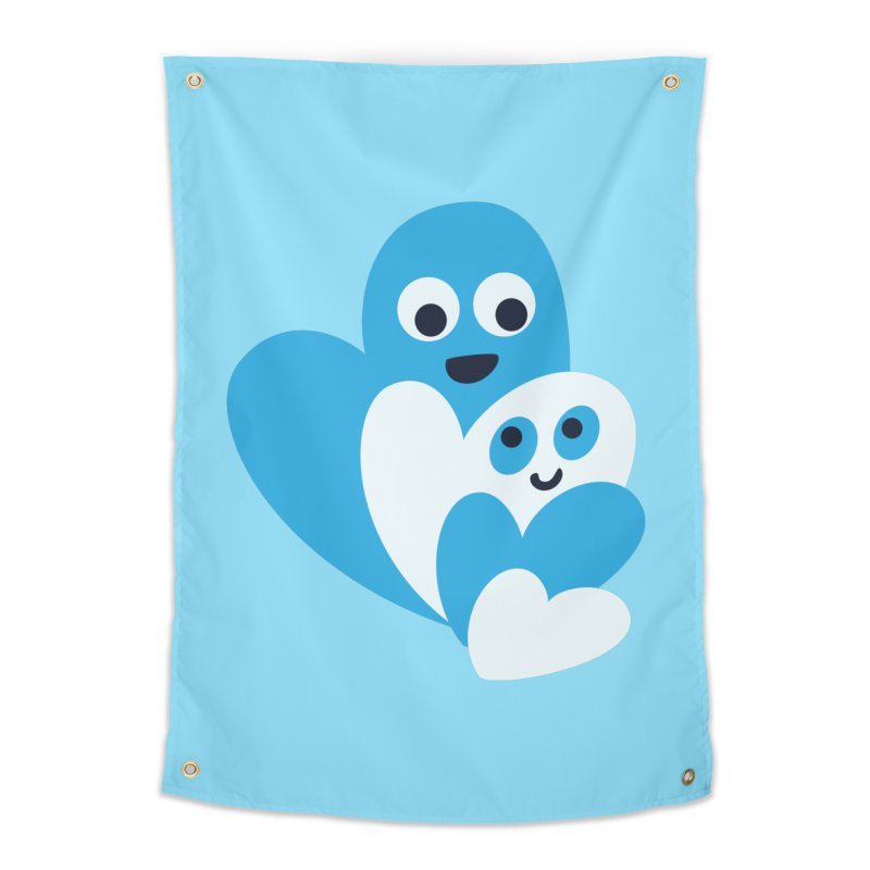 Cute Family Of Happy Hearts Home Tapestry by Boriana's Artist Shop