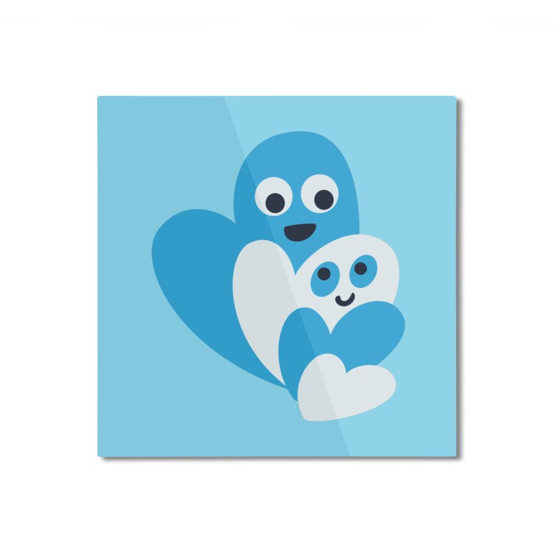 Cute Family Of Happy Hearts Home Mounted Aluminum Print by Boriana's Artist Shop