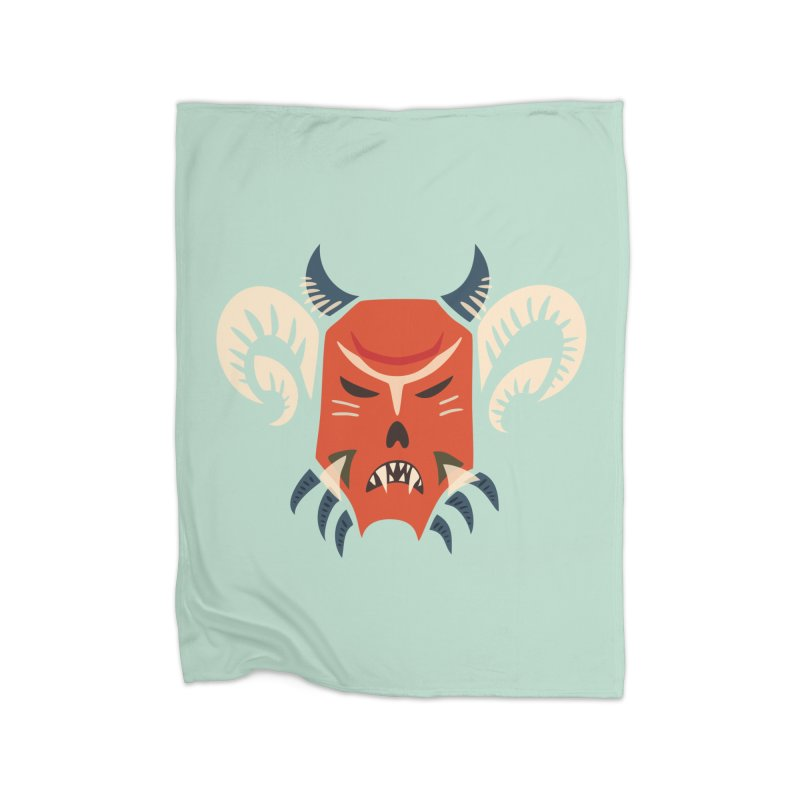 Evil Horned Demon Mask Home Blanket by Boriana's Artist Shop