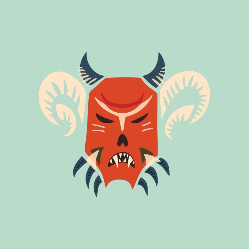 Evil Horned Demon Mask Kids T-Shirt by Boriana's Artist Shop