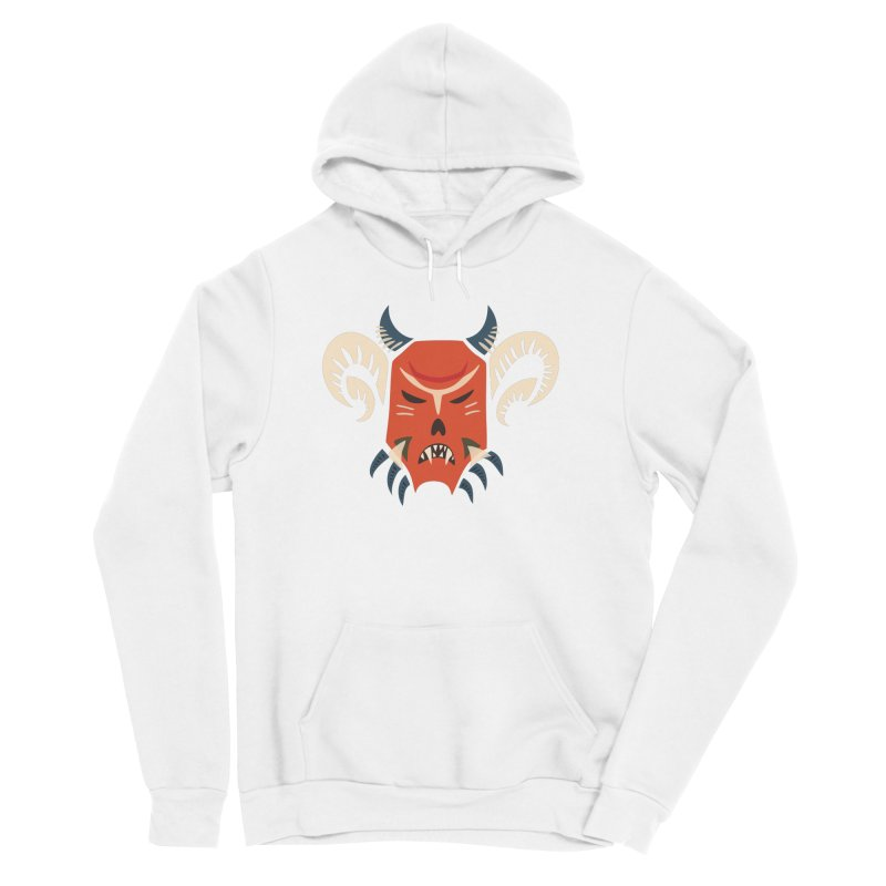 Evil Horned Demon Mask Men's Sponge Fleece Pullover Hoody by Boriana's Artist Shop