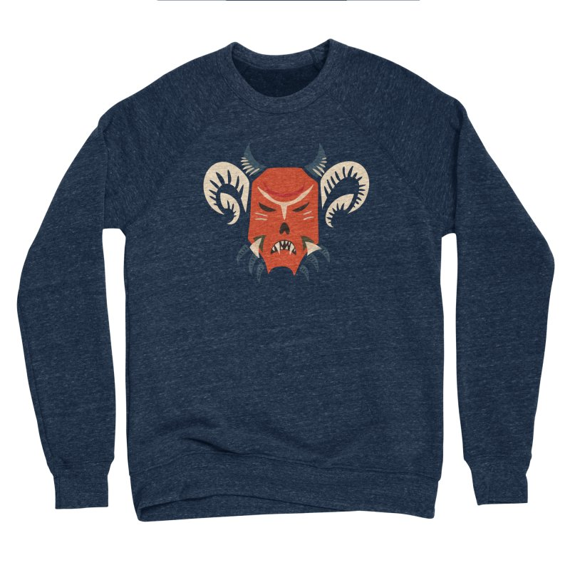 Evil Horned Demon Mask Women's Sponge Fleece Sweatshirt by Boriana's Artist Shop