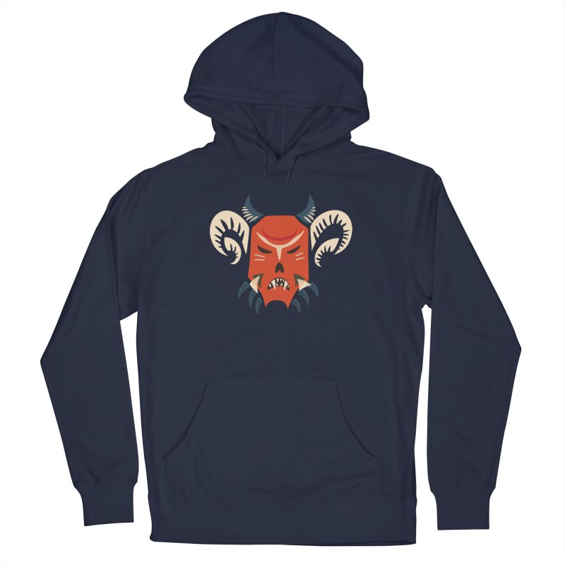 Evil Horned Demon Mask Women's French Terry Pullover Hoody by Boriana's Artist Shop