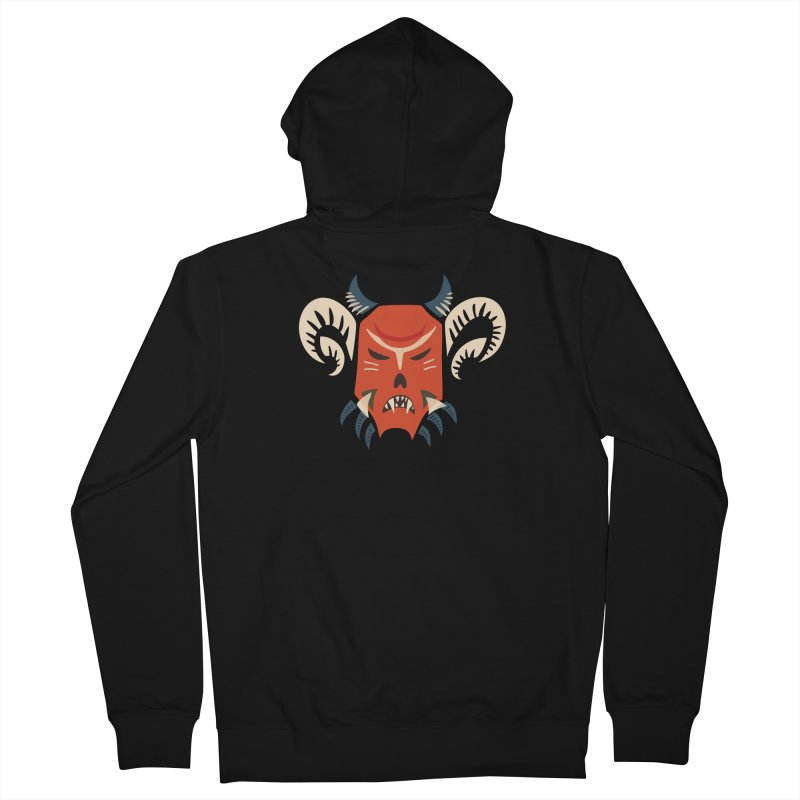 Evil Horned Demon Mask Women's French Terry Zip-Up Hoody by Boriana's Artist Shop