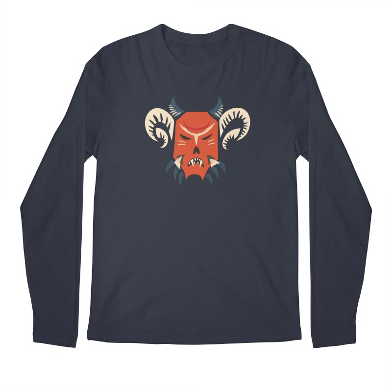 Evil Horned Demon Mask Men's Regular Longsleeve T-Shirt by Boriana's Artist Shop