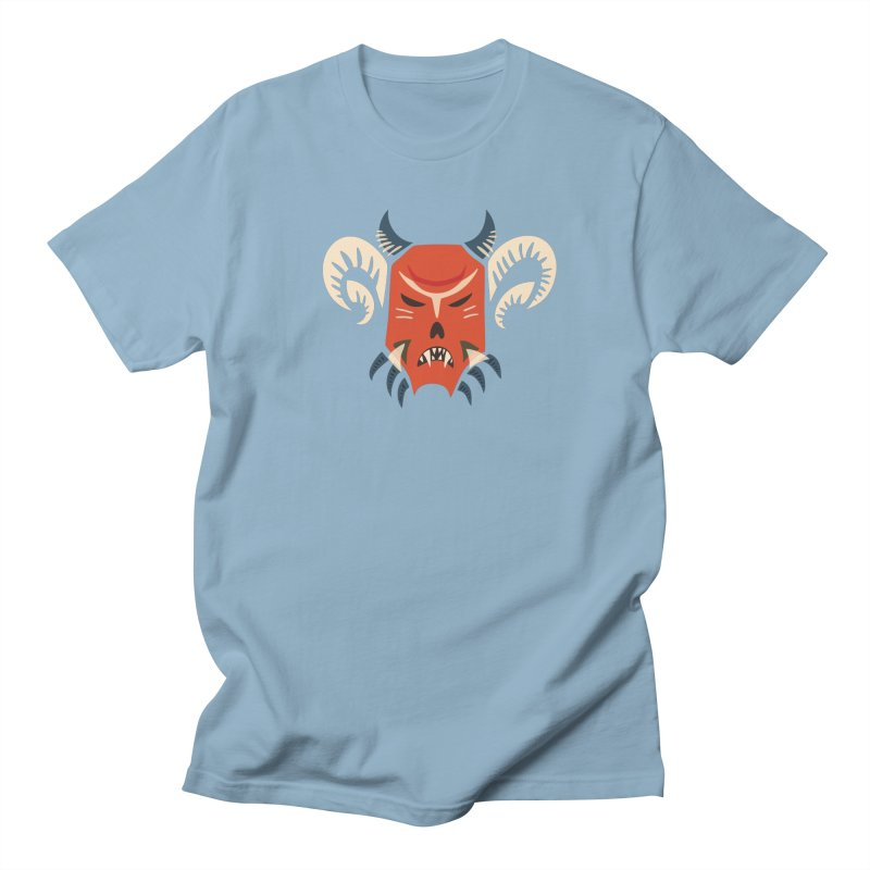 Evil Horned Demon Mask Men's T-Shirt by Boriana's Artist Shop
