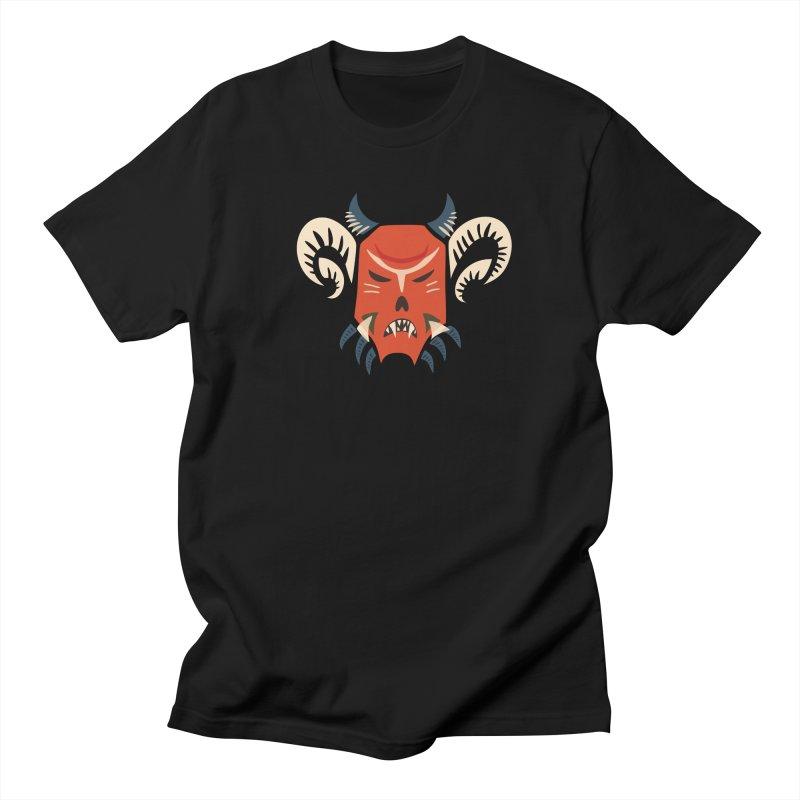 Evil Horned Demon Mask Women's Regular Unisex T-Shirt by Boriana's Artist Shop