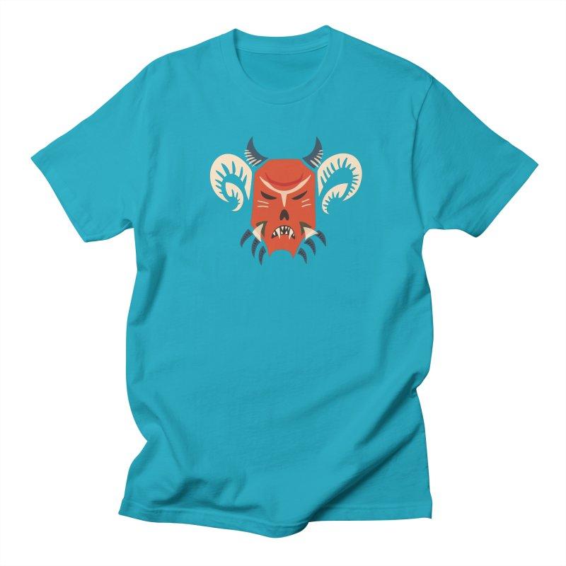 Evil Horned Demon Mask Men's T-Shirt by Boriana's Artist Shop