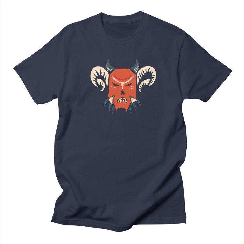 Evil Horned Demon Mask Men's Regular T-Shirt by Boriana's Artist Shop