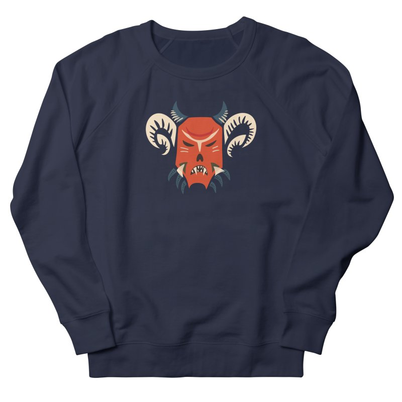 Evil Horned Demon Mask Men's French Terry Sweatshirt by Boriana's Artist Shop