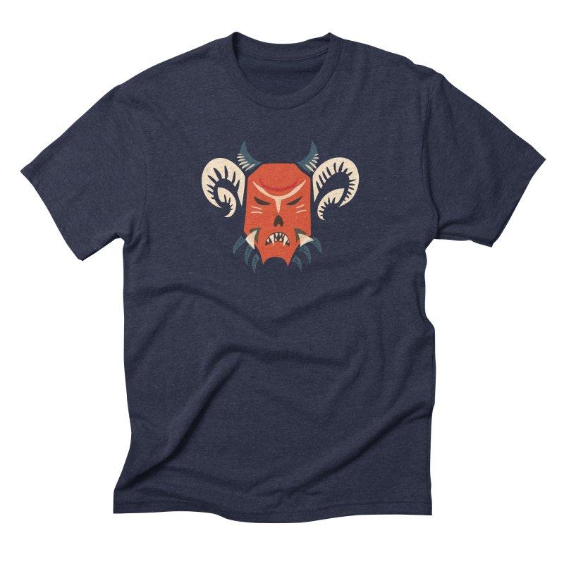 Evil Horned Demon Mask Men's Triblend T-Shirt by Boriana's Artist Shop
